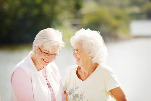 Two older women laughing : Stock Photo