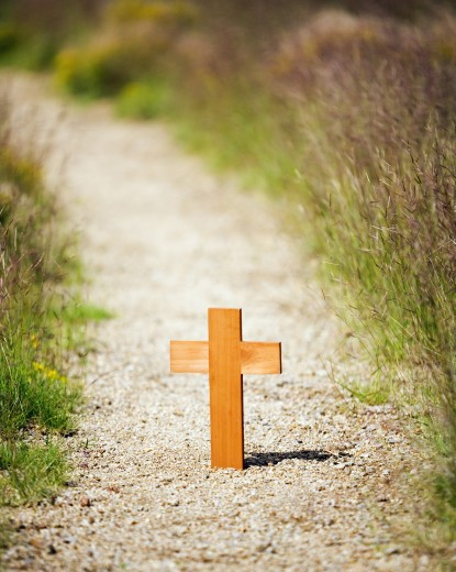 Stock Photo: 1889R-25637 Path with a wooden cross