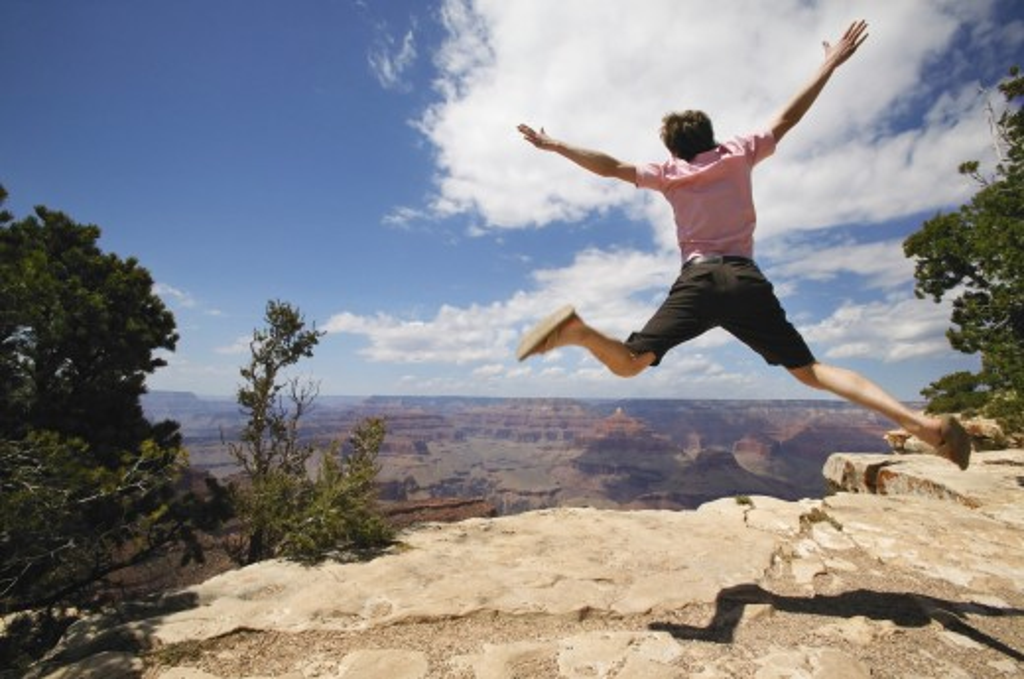 Young man jumping : Stock Photo