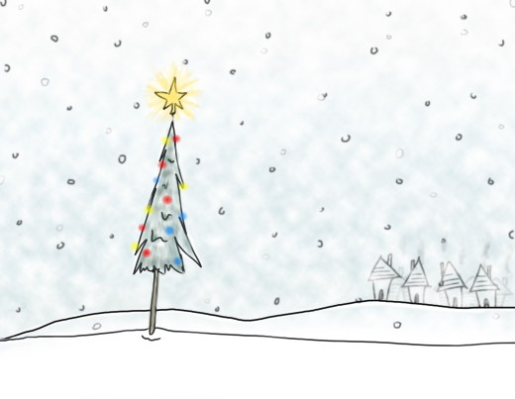 Christmas tree in snowfall : Stock Photo