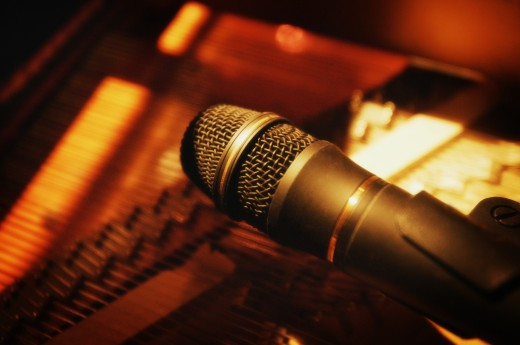 Stock Photo: 1889R-2759 Microphone inside piano