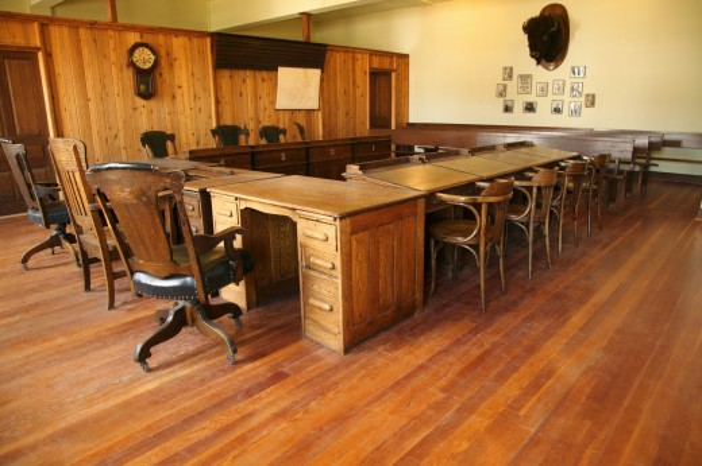 Historical hall in Fort Edmonton, Alberta, Canada : Stock Photo