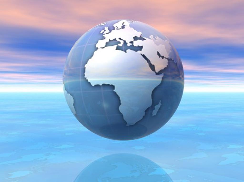 Stock Photo: 1889R-28214 3D Globe