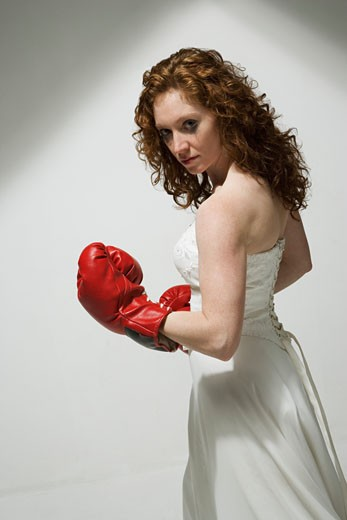 Woman ready to fight : Stock Photo