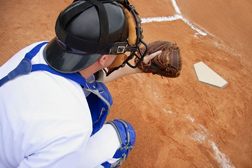 Back catcher ready to catch the ball : Stock Photo
