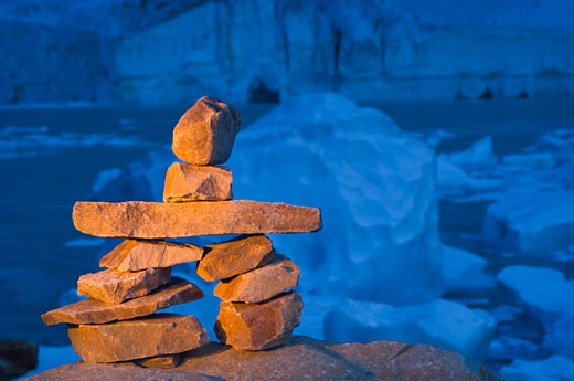 Stock Photo: 1889R-30251 Cairn in front of glacier, ice cave and mountain