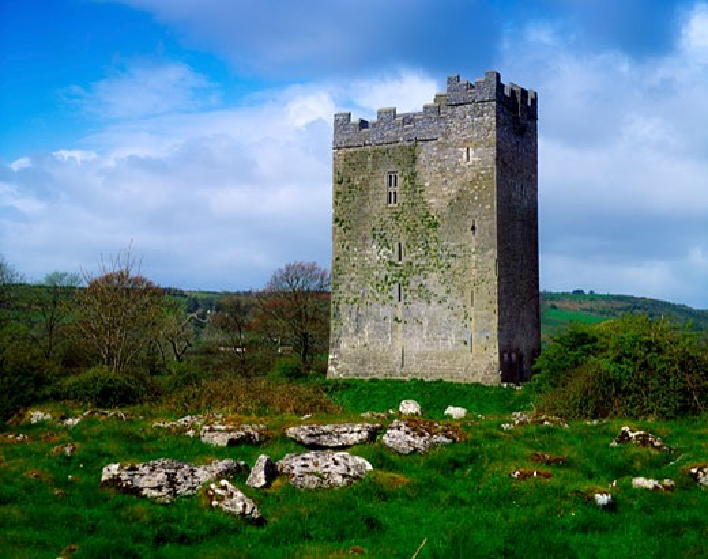 Stock Photo: 1889R-31300 Co Clare, The Burren, Dysert O'Dea Castle, circa 1480, Ireland