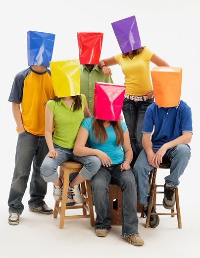 Group of teens with color blindness : Stock Photo