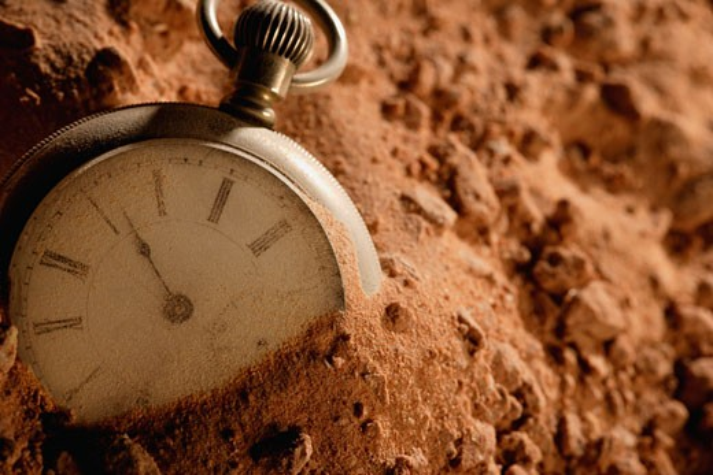 Stock Photo: 1889R-3365 Buried pocket watch
