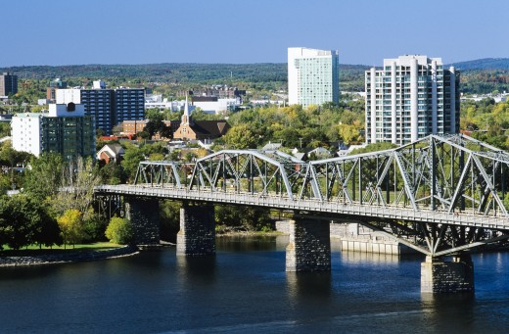 Stock Photo: 1889R-34111 View of Hull and the Alexandra Bridge spanning the Ottawa River, Ottawa, Ontario, Canada