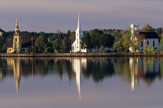 Three churches at Mahone Bay, Nova Scotia, Canada : Stock Photo