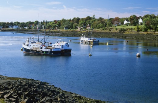 Stock Photo: 1889R-34153 Fishing boats in Annapolis Royal, Nova Scotia, Canada