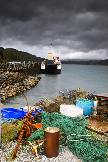 Stock Photo: 1889R-34650 Fishing equipment on the shore, Lochaline, Scotland