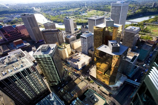 Aerial view of downtown, Edmonton, Alberta, Canada : Stock Photo