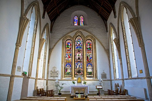 Stained glass windows, Duiske Abbey, Graiguenamanagh, County Kilkenny, Ireland, Europe   : Stock Photo