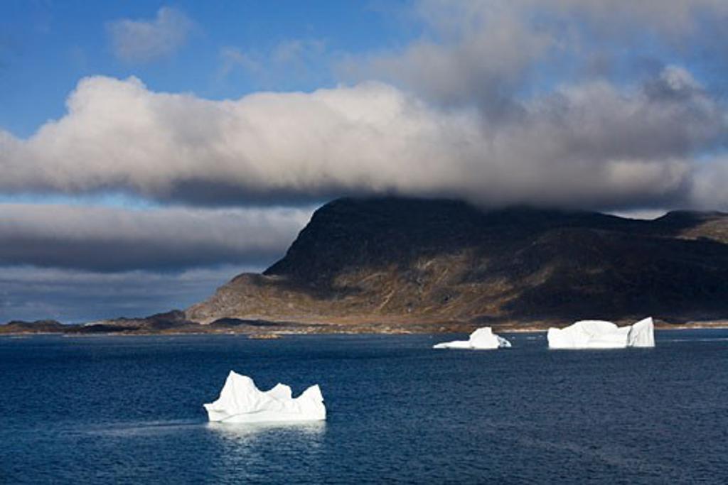 Stock Photo: 1889R-35199 Icebergs, Island of Qoornoq, Province of Kitaa, Southern Greenland, Kingdom of Denmark