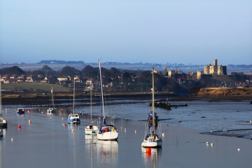 River Coquet, Warkworth Castle, Northumberland, England : Stock Photo