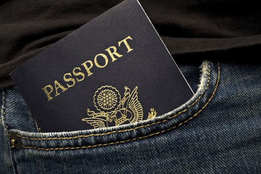 US Passport in a pocket : Stock Photo