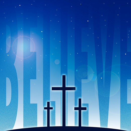 Stock Photo: 1889R-35477 Three crosses and believe