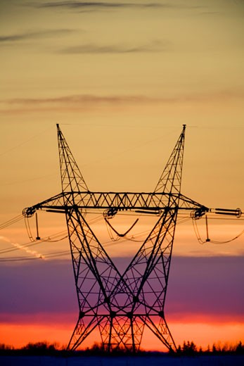 Stock Photo: 1889R-35580 Silhouetted transmission tower
