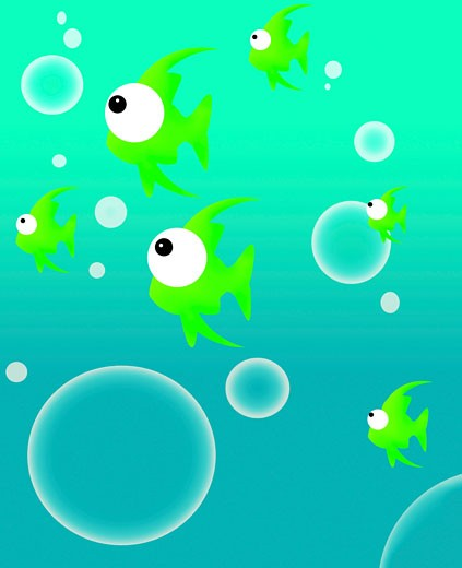 Illustration of fish and bubbles : Stock Photo