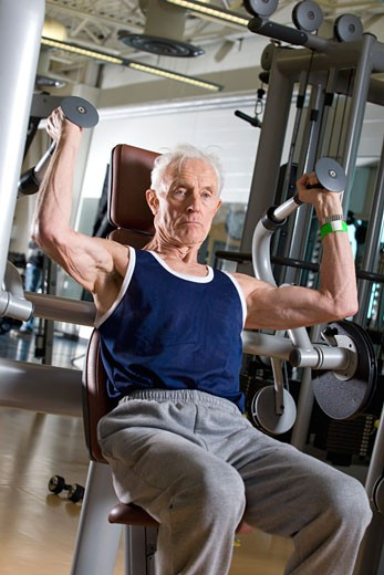 Stock Photo: 1889R-35945 Senior man working out