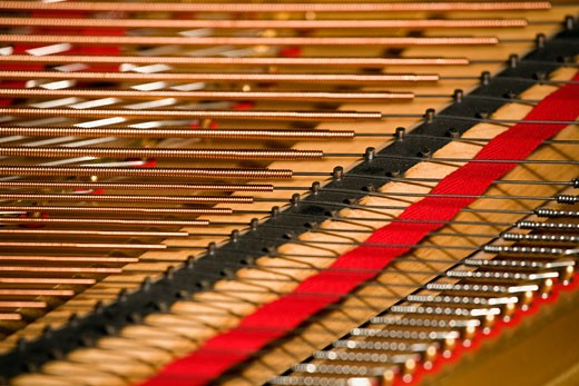 Close up of piano strings : Stock Photo