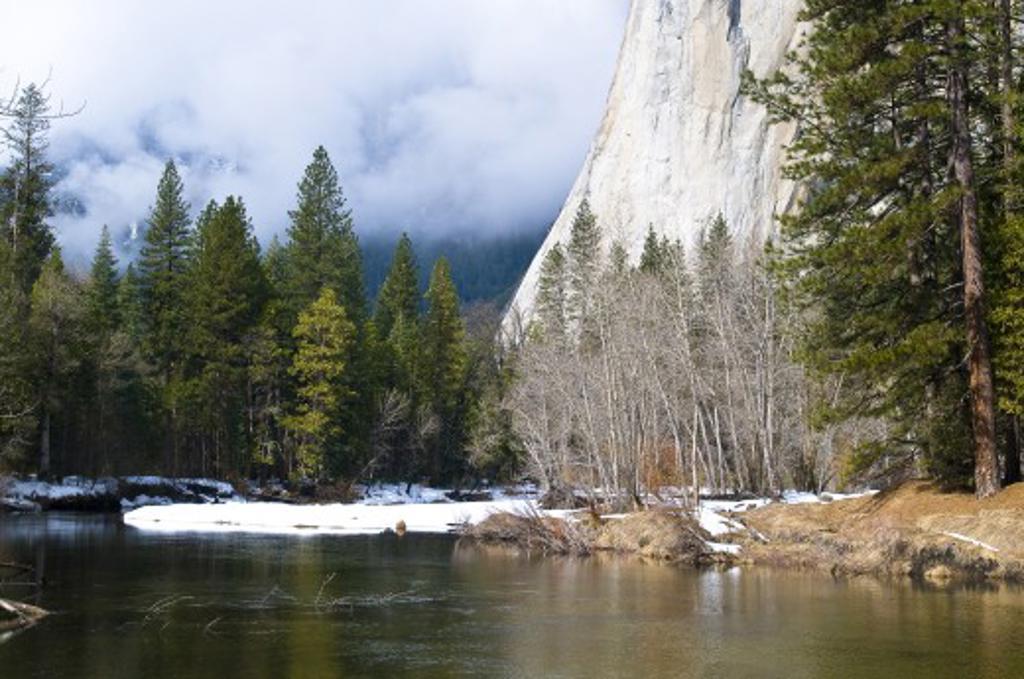 Stock Photo: 1889R-36526 River at foot of mountain, El Capitan, Yosemite National Park, California, USA