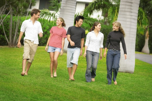 Group walking : Stock Photo