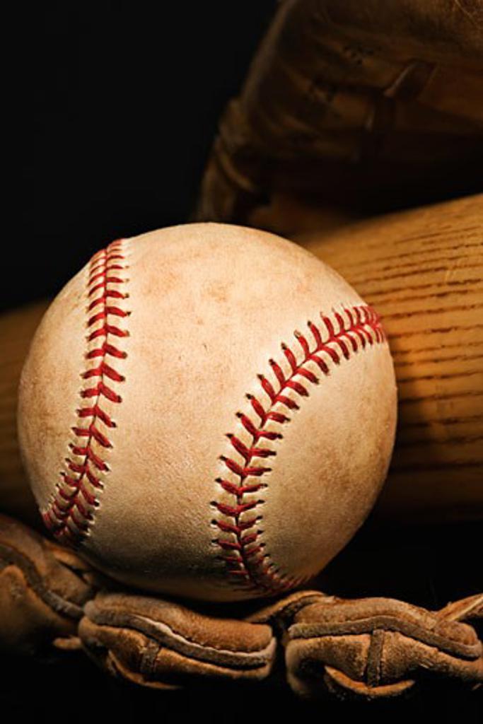 Stock Photo: 1889R-37910 Vintage baseball glove, bat and ball