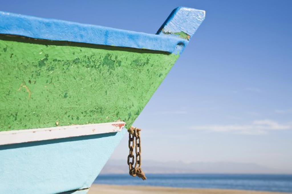 Torremolinos, Malaga Province, Costa Del Sol, Spain, Fishing Boat On Playamar-Bajondillo Beach : Stock Photo