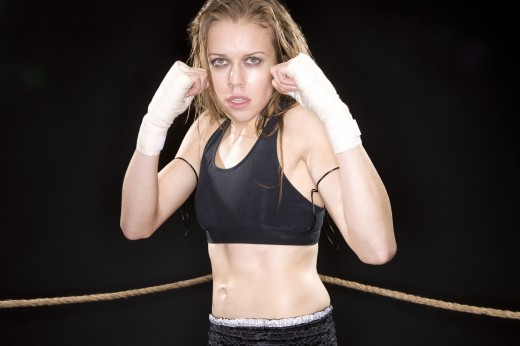 Woman boxer : Stock Photo