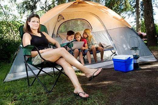 Stock Photo: 1889R-39657 Family camping
