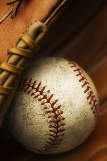 Stock Photo: 1889R-39821 Baseball and glove