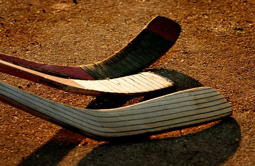 Collection of hockey sticks : Stock Photo