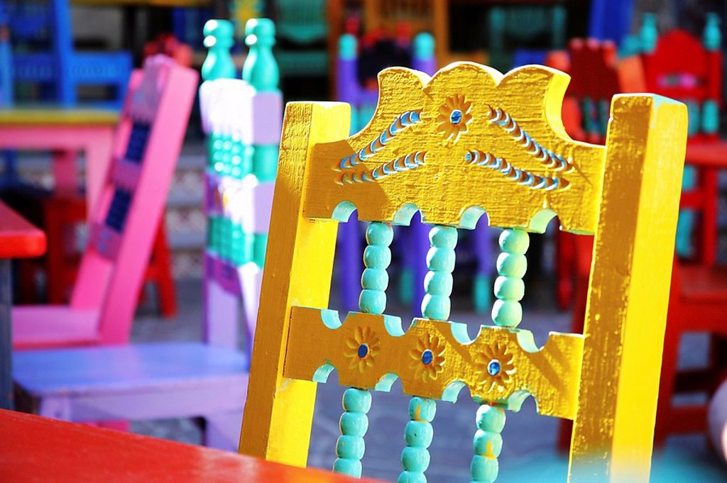 Stock Photo: 1889R-46913 Painted chair, Cabo San Lucas, Mexico