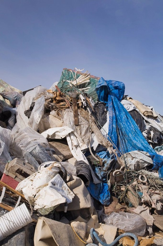 Pile of discarded industrial debris in a recycling yard, Laval, Quebec, Canada : Stock Photo