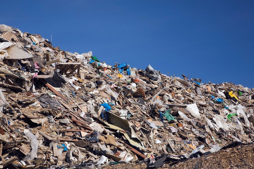 Stock Photo: 1889R-46952 Pile of discarded debris in a recycling yard, Laval, Quebec, Canada