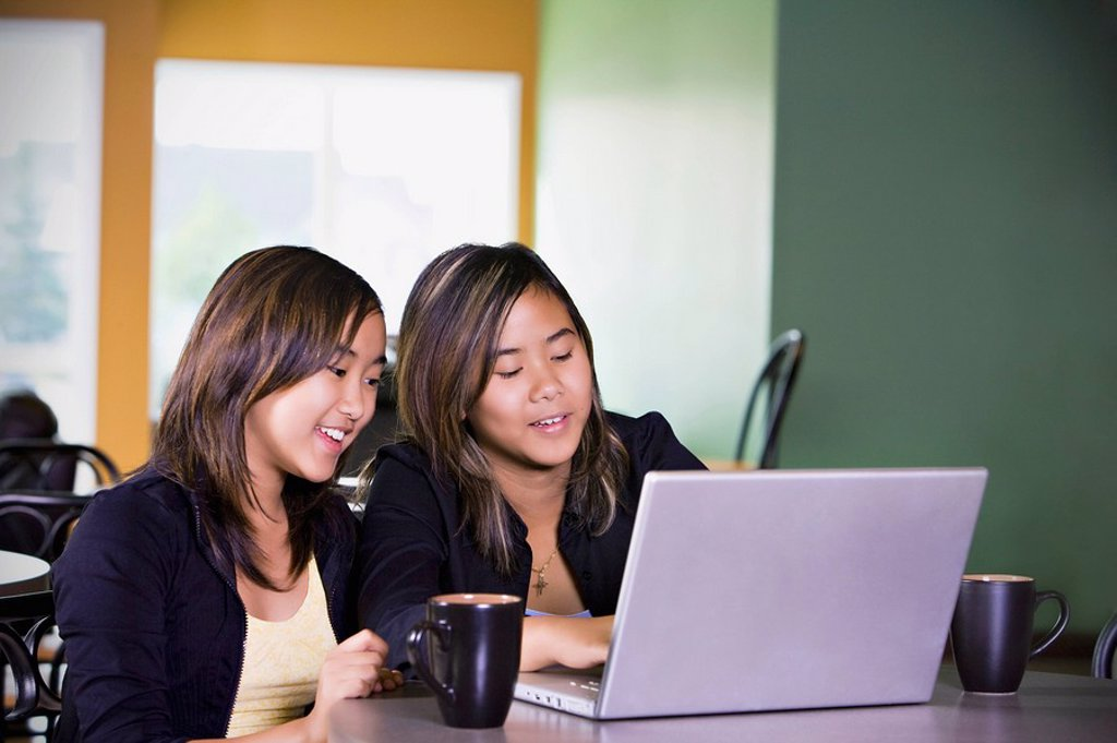 Stock Photo: 1889R-46988 Two girls on a laptop computer
