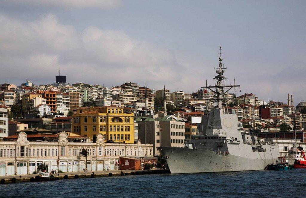 Navy vessel on the Bosphorus, Istanbul, Turkey : Stock Photo