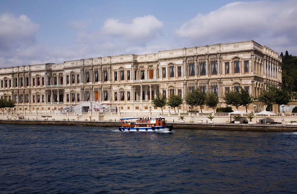The Ciragan Palace and the Bosphorus strait, Istanbul, Turkey, Europe : Stock Photo