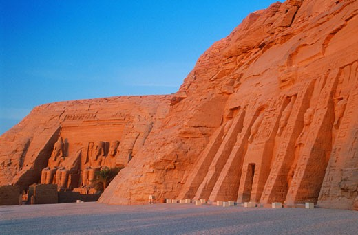 Temple of Hathor and The Great Temple in Abu Simbel, Egypt : Stock Photo