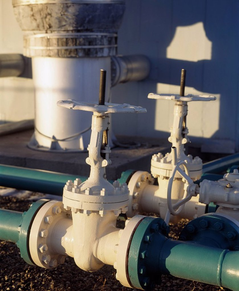 Values and pipes, Gas Plant : Stock Photo