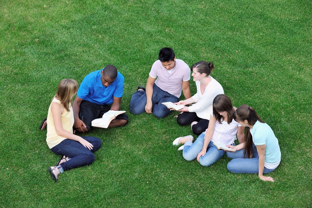 Stock Photo: 1889R-47827 Group of friends having a Bible study
