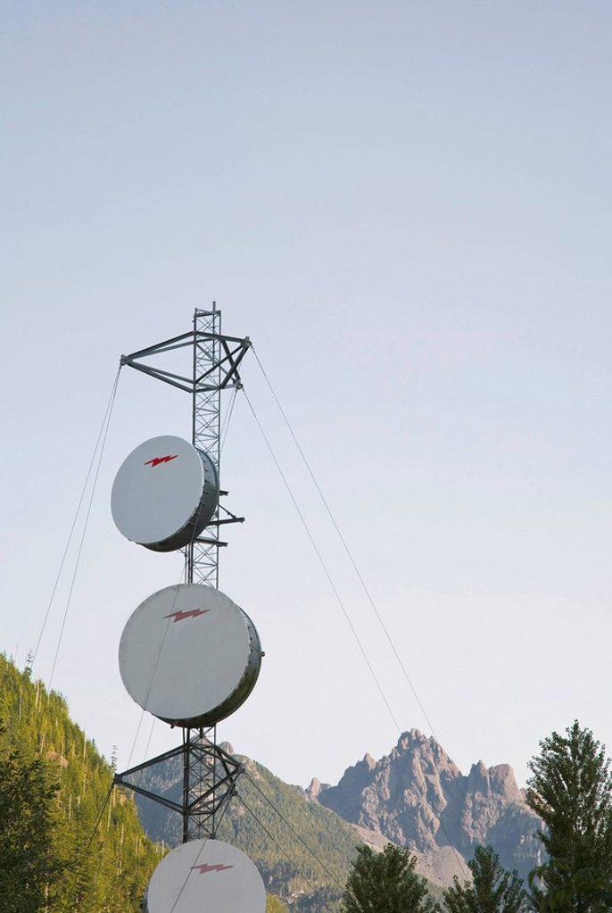 Satellite dishes, British Columbia, Canada : Stock Photo