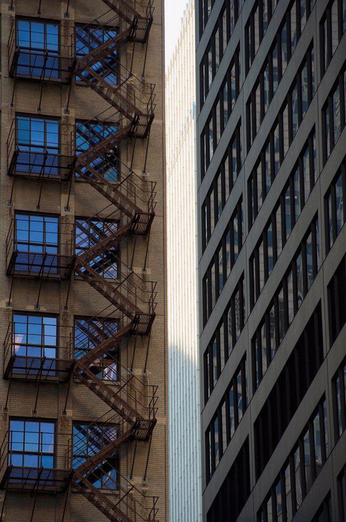 Fire escape in apartment building : Stock Photo