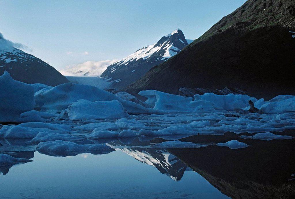 Icebergs, Portage Lake, Portage Glacier, Alaska : Stock Photo