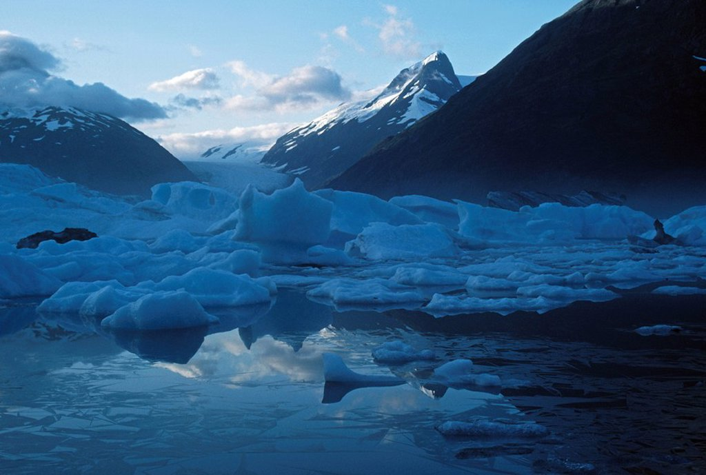 Icebergs, Portage Lake, Portage Glacier, Alaska : Stock Photo