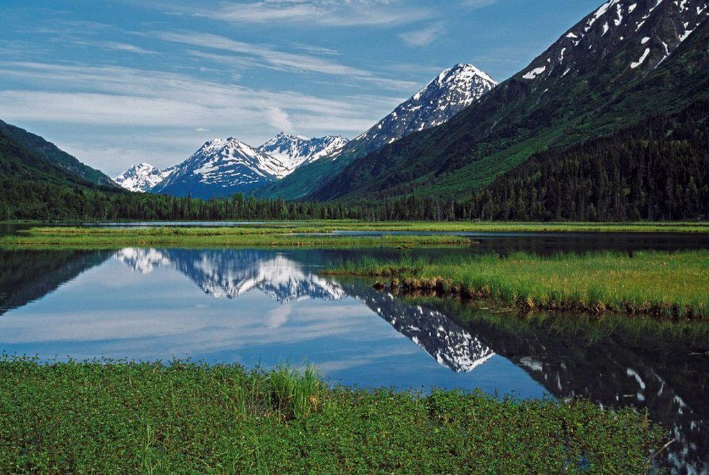 Snow_capped mountains, Tern Lake, Alaska : Stock Photo