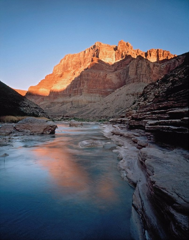 Chuar Butte viewed from Little Colorado River, Grand Canyon National Park, Arizona, USA : Stock Photo